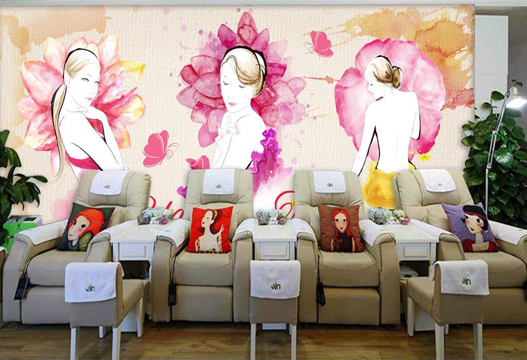 手绘水彩美女化妆品店美容店背景墙
