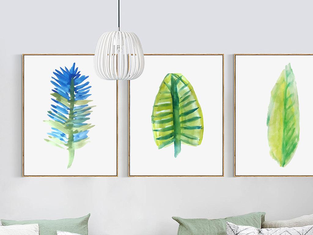 植物叶子热带雨林田园风芭蕉叶水彩黑白北欧装饰画北欧简约装饰画北欧