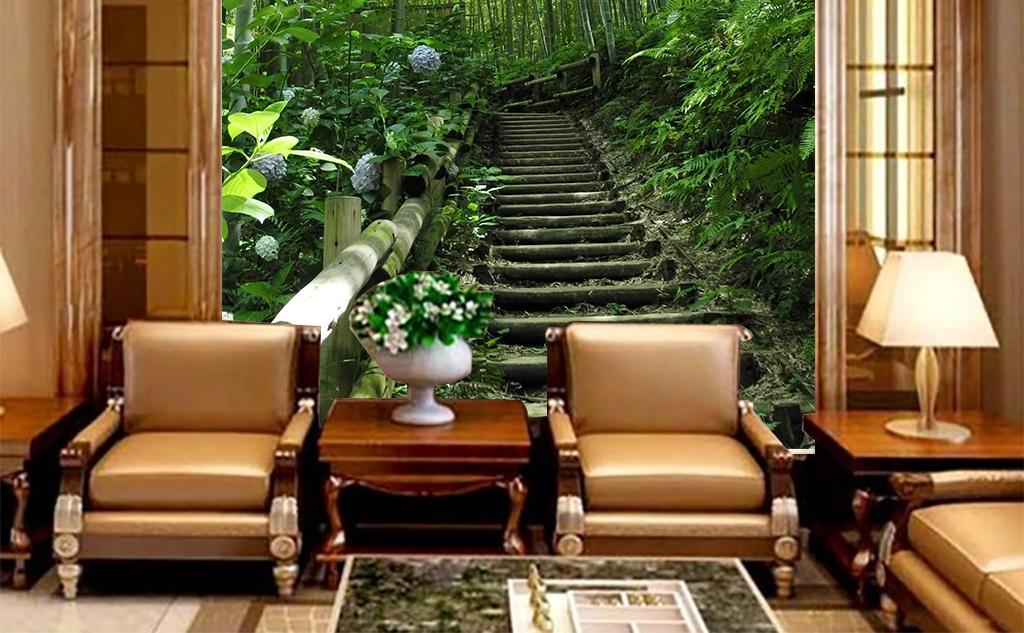 手绘墙画沙发背景墙竹林深处竹林风景图片竹林图片雨竹林竹林素材唯美