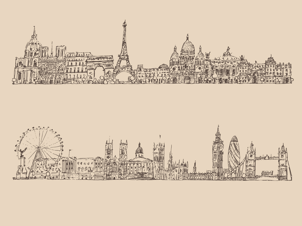 世界著名建筑地标手绘素描线条剪影图片素材_ai模板()