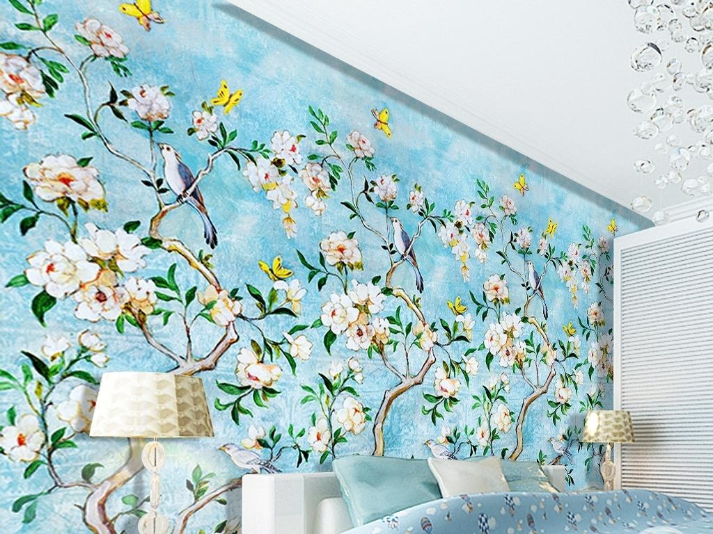 复古油画花鸟背景墙