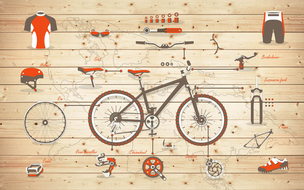 手绘自行车装备酒吧自行车店背景墙