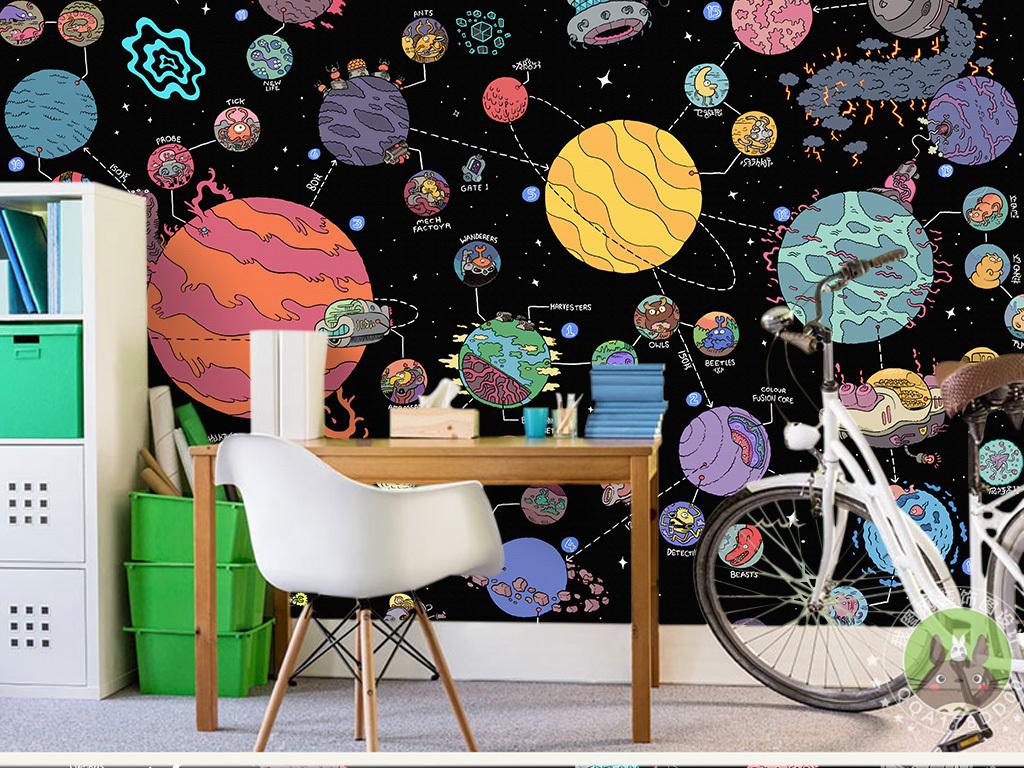 卡通宇宙星空飞船大型儿童壁画
