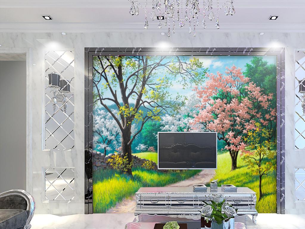背景墙|装饰画 电视背景墙 田园背景墙 > 手绘高清油画唯美风景背景墙