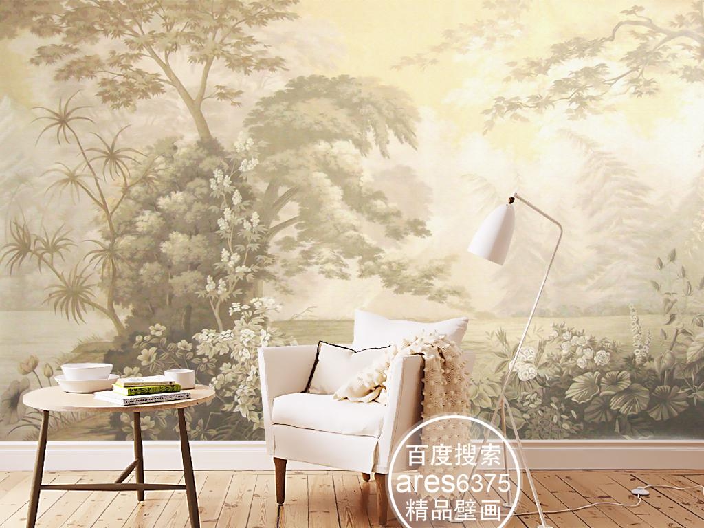 欧式复古手绘田园雨林树林壁画背景墙