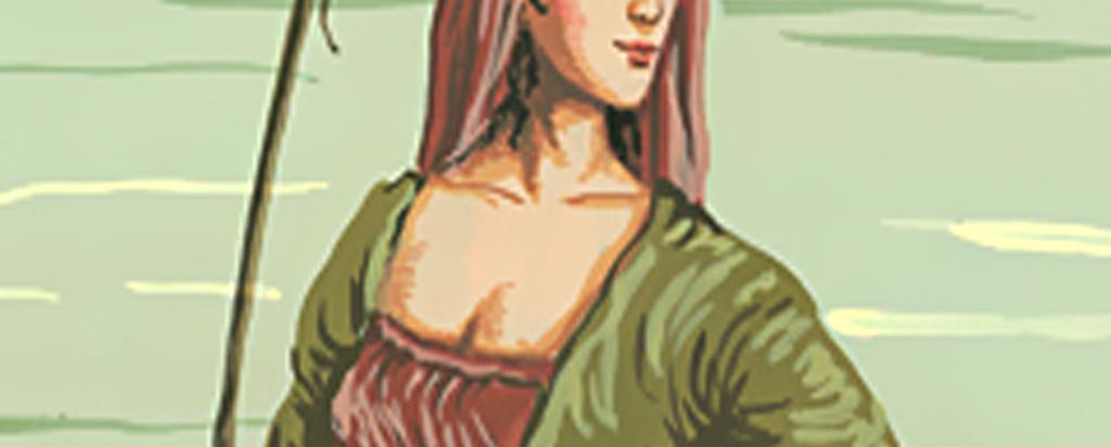 欧式手绘站在河边洗衣服女人壁画玄关背景墙