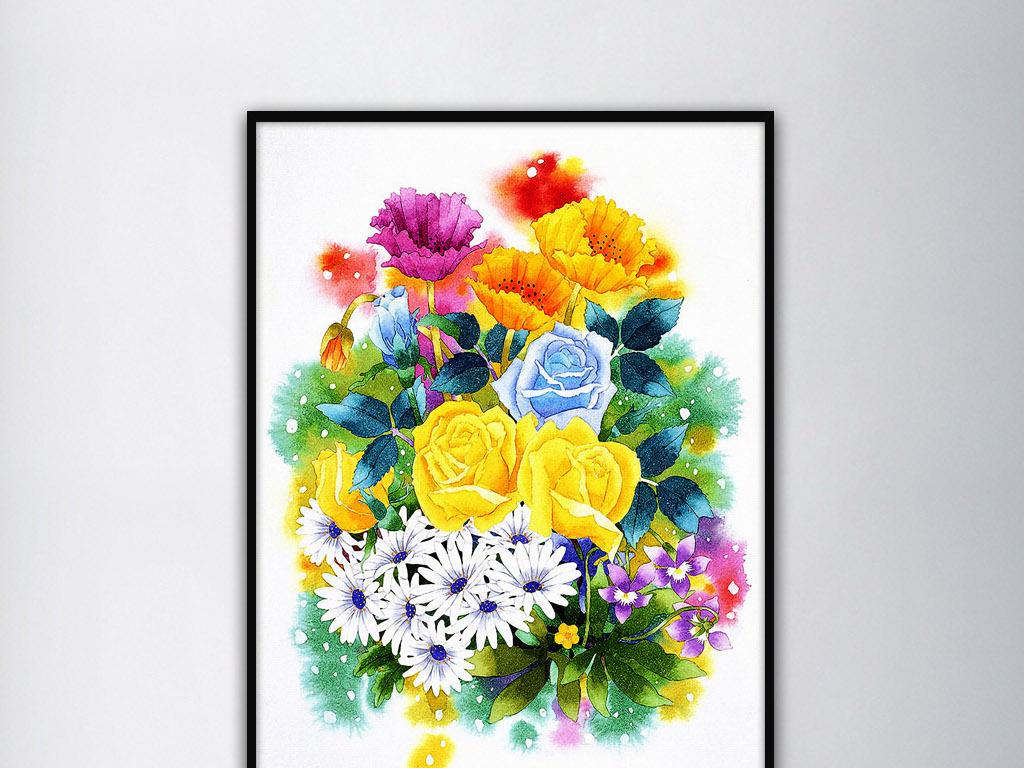 黄蓝玫瑰花白色车矢菊手绘小清新花卉装饰画