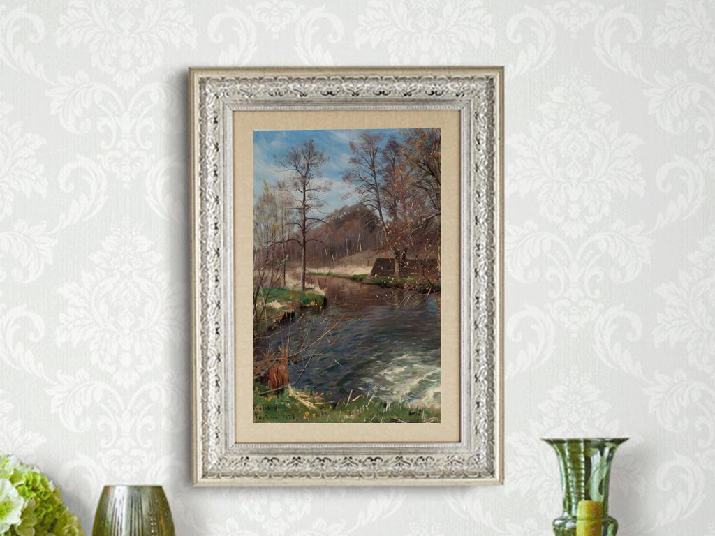 欧式油画肌理泼墨喷溅水溶玄关背景墙高档树林油画