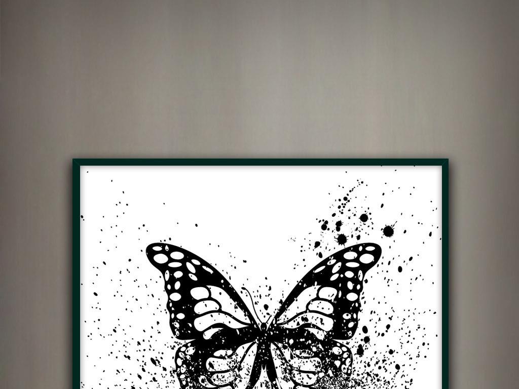 蝴蝶轻舞飞扬黑白水墨写意墨迹新中式装饰画图片