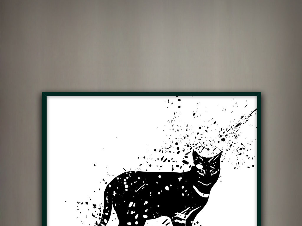 猫手绘水墨黑白现代写意简约欧式清新装饰画