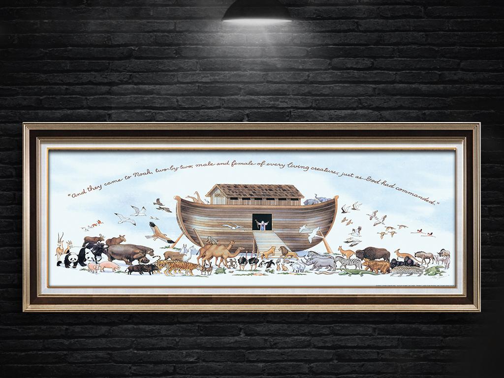 欧式抽象动物群大船装饰画