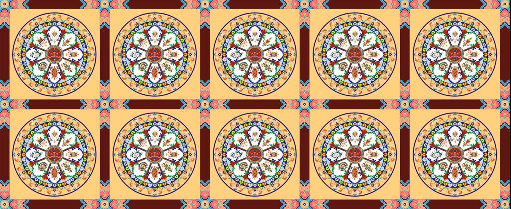 psd)佛堂顶画藏式顶画寺庙顶画吉祥八宝中式传统图案中式传统元素图片