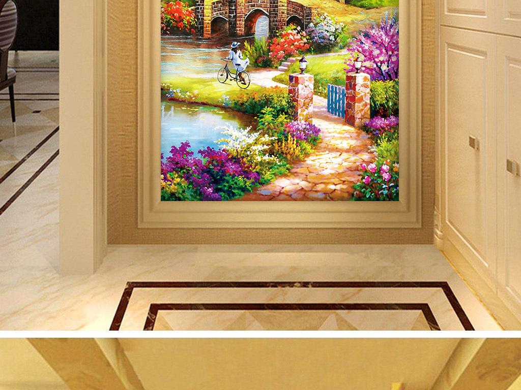 浪漫小屋油画风景玄关背景墙