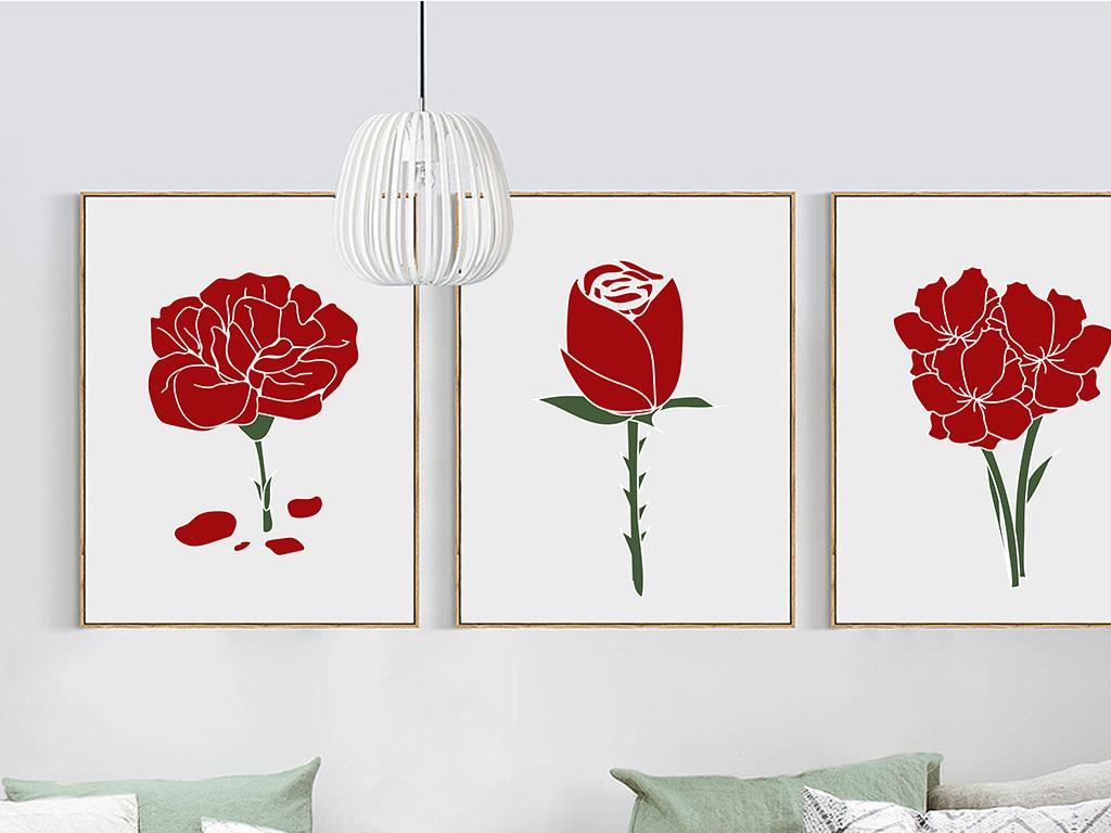 手绘红色中国风花卉无框画