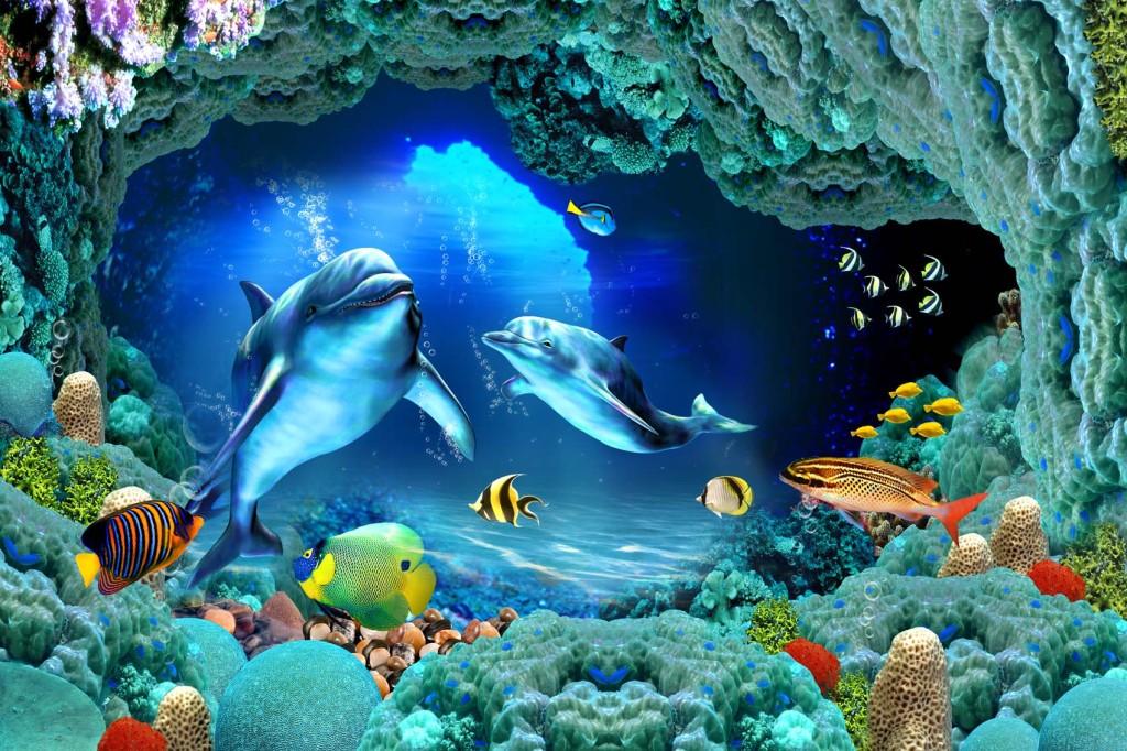 """【本作品下载内容为:""""3D海洋世界海底世界海豚海底石头""""模板,其他内容仅为参考,如需印刷成实物请先认真校稿,避免造成不必要的经济损失。】 【声明】未经权利人许可,任何人不得随意使用本网站的原创作品(含预览图),否则将按照我国著作权法的相关规定被要求承担最高达50万元人民币的赔偿责任。"""