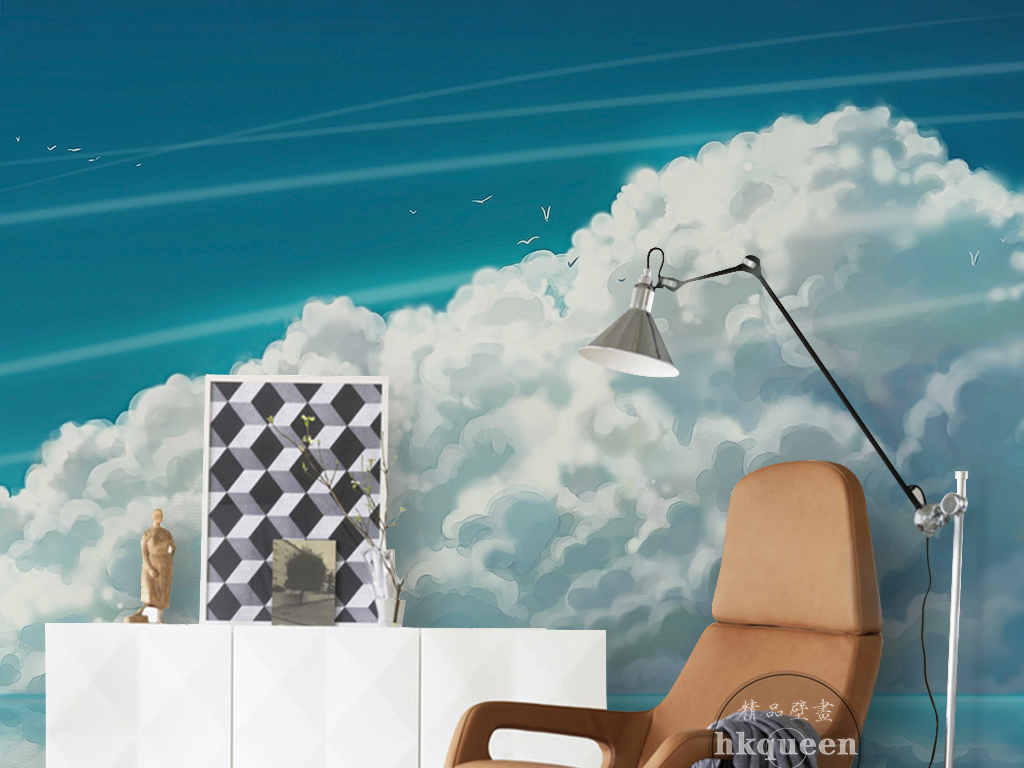 现代简约蓝天白云倒影儿童卡通动漫背景墙