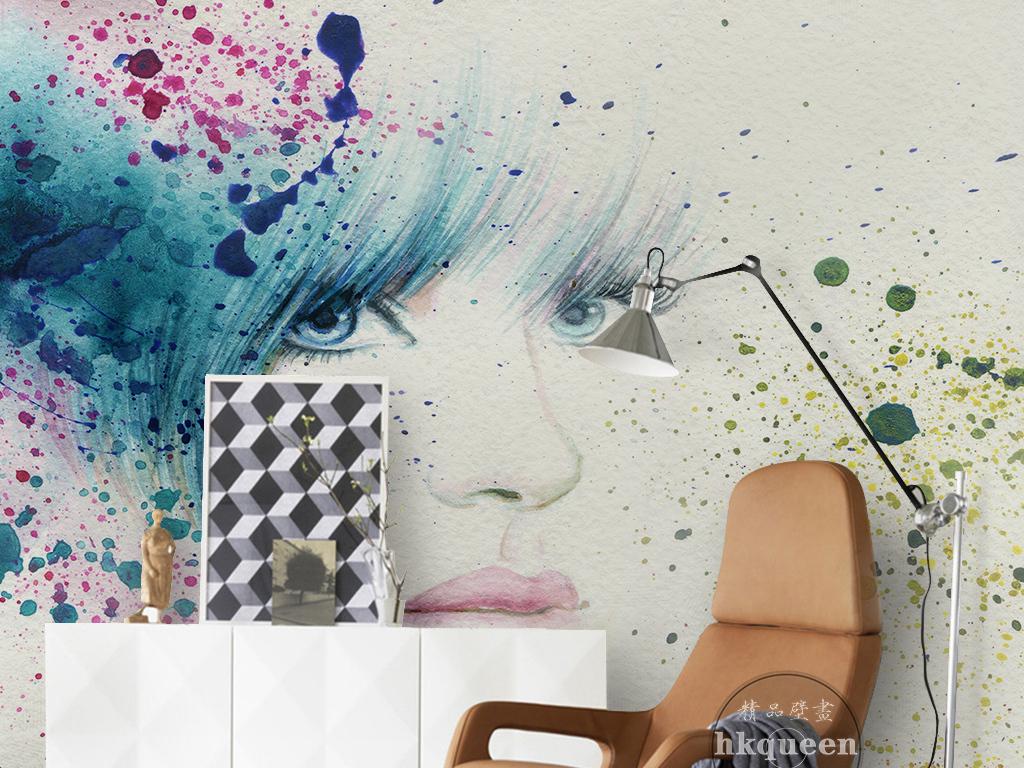 北欧简约水彩绘画美女头像彩绘工装背景墙