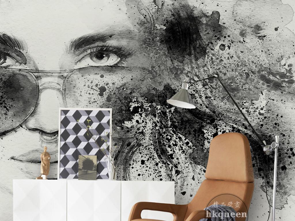 水墨黑白手绘美女抽象工装欧式背景墙