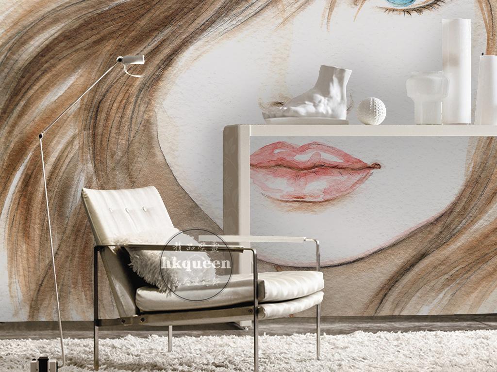 简约时尚素雅手绘美女头像飘逸工装背景墙