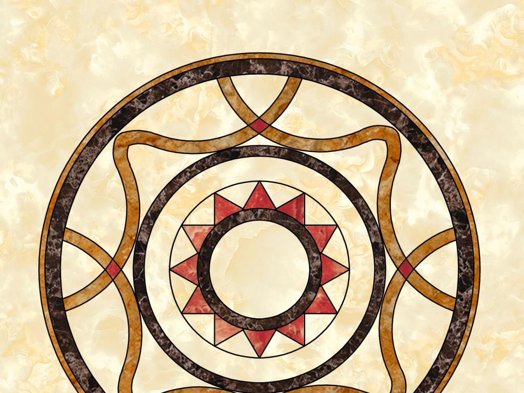 中式石材水刀拼花背景墙装饰图案图片