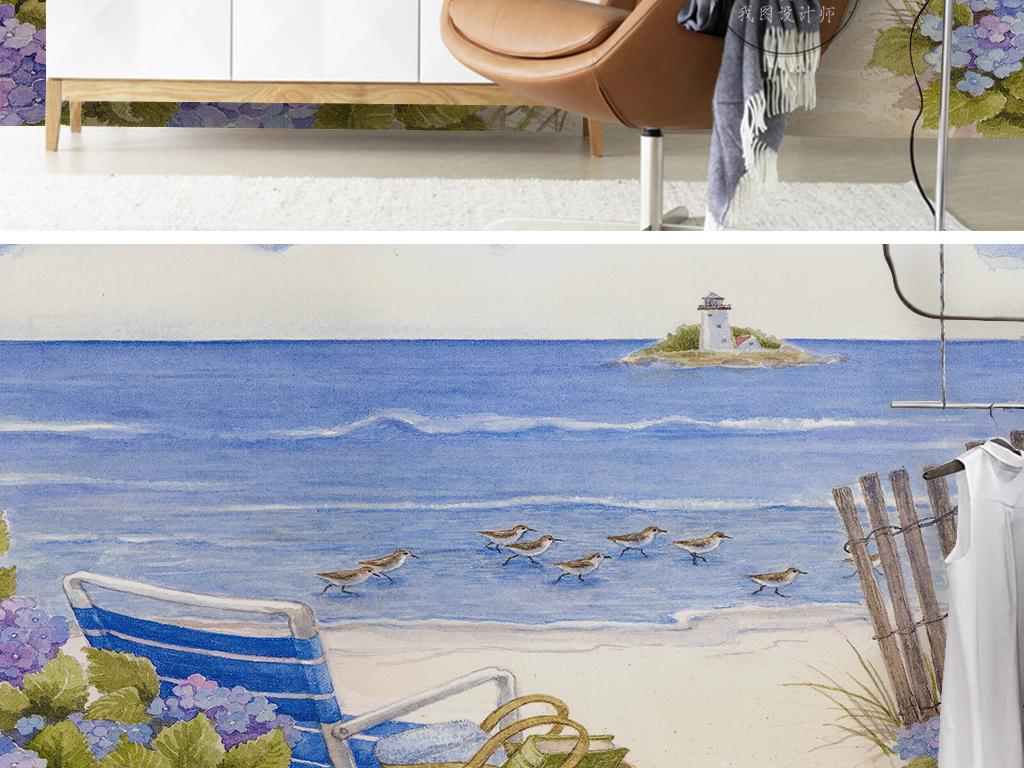 欧式电视背景墙 > 蓝色大海灯塔海鸥小碎花花园北欧