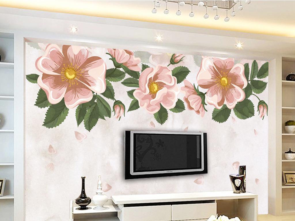 复古手绘花朵电视背景墙