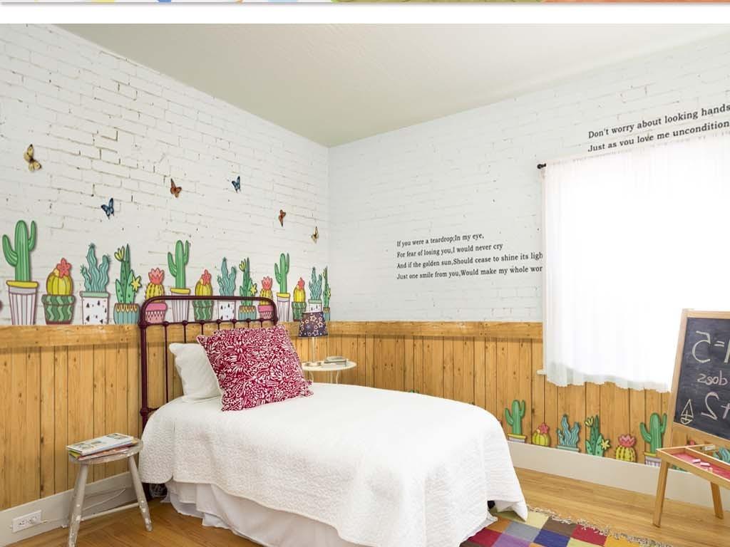 手绘绘画插画蝴蝶砖墙墙面栅栏木板木栅栏英文田原美式可爱小清新日韩