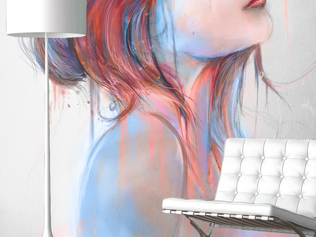 哭泣蝴蝶清新手绘涂鸦创意油画女人美女装饰简约现代