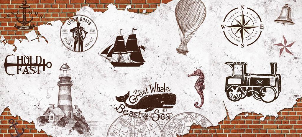 欧美复古手绘灯塔航海图酒吧咖啡店背景墙