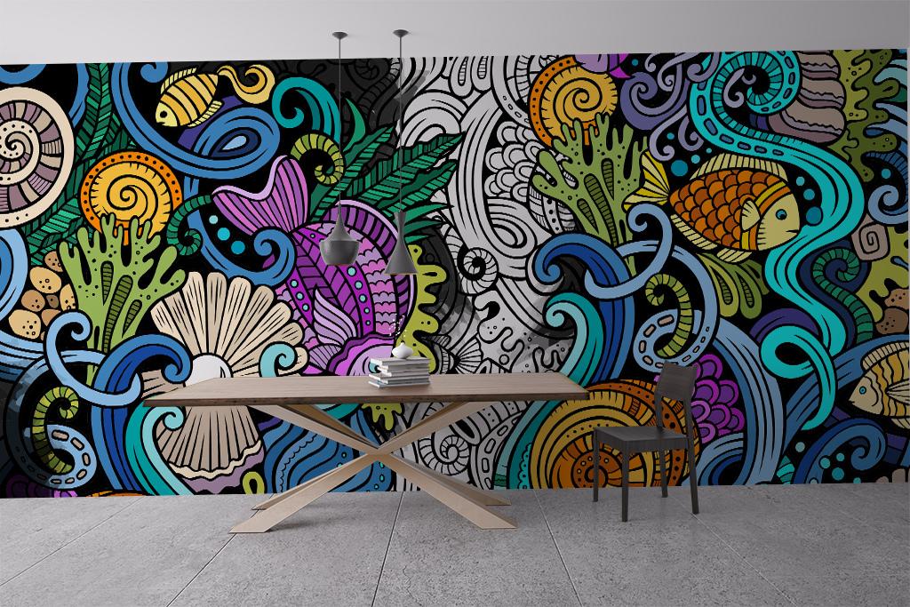 背景墙|装饰画 电视背景墙 手绘电视背景墙 > 手绘海底世界矢量背景墙