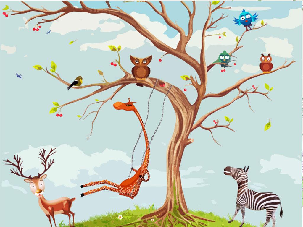 背景墙|装饰画 电视背景墙 手绘电视背景墙 > 荡秋千的长颈鹿和它的