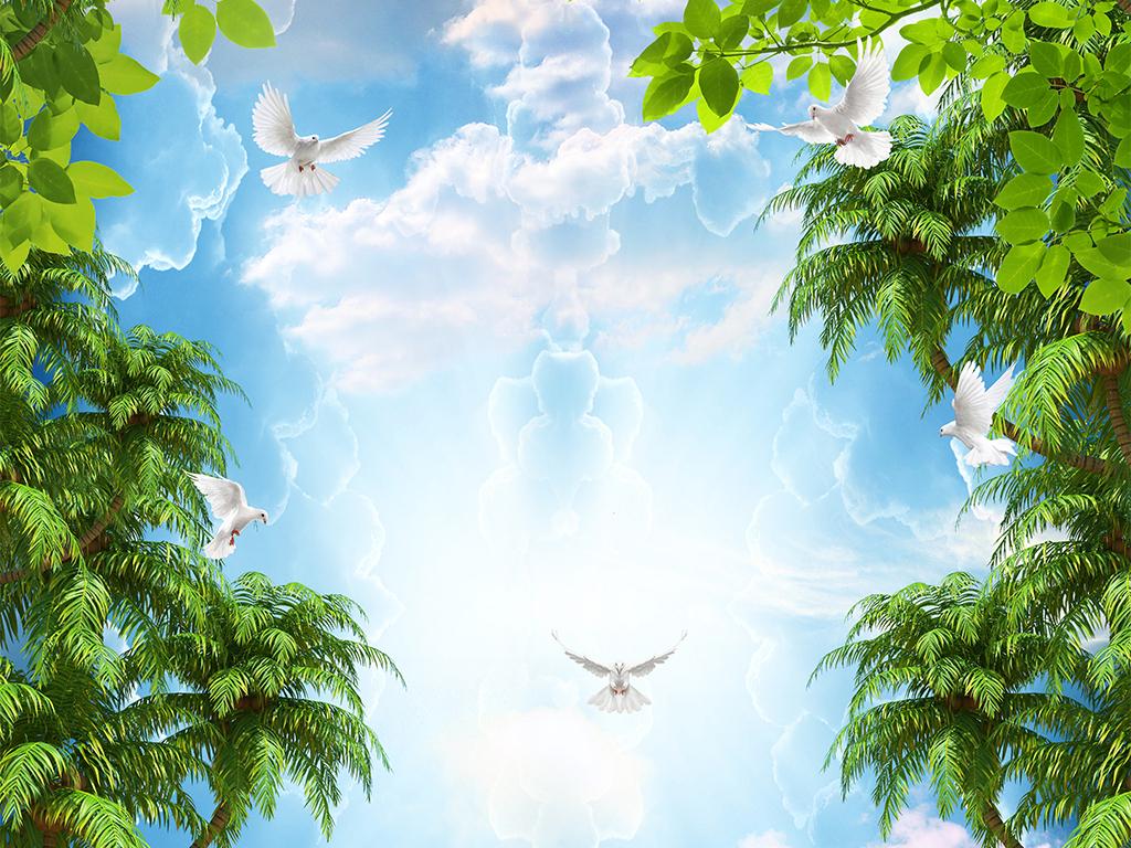 热带雨林天空云彩白鸽吊顶天顶壁画