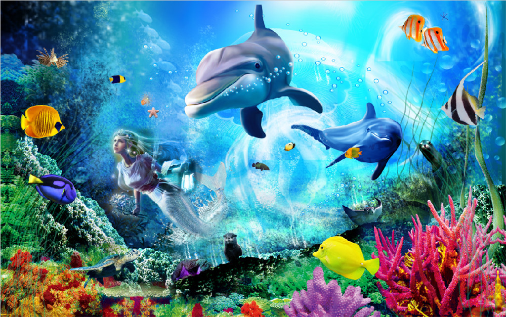 3d立体海底世界客厅电视背景墙图片