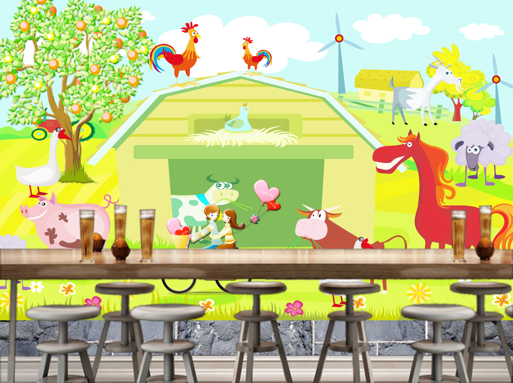 我图网提供精品流行高清农场风景卡通动物儿童房背景墙素材下载,作品模板源文件可以编辑替换,设计作品简介: 高清农场风景卡通动物儿童房背景墙 位图, RGB格式高清大图,使用软件为 Photoshop CS6(.psd) 高清儿童房背景墙 高清农场儿童房背景墙