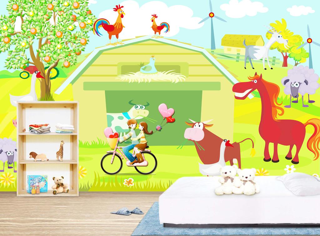 高清农场风景卡通动物儿童房背景墙