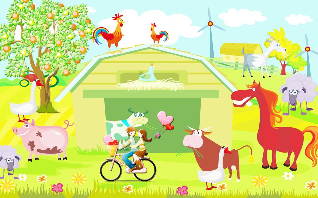 背景墙 装饰画 电视背景墙 儿童房背景墙 > 高清农场风景卡通动物儿童
