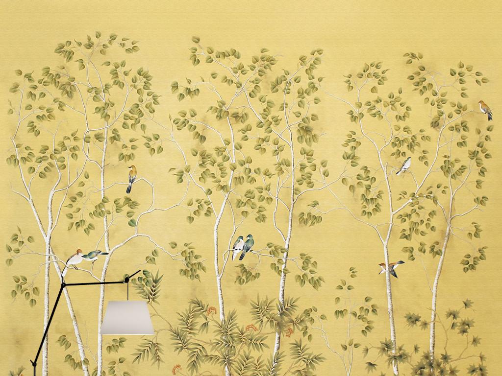 欧式复古新中式手绘工笔花鸟壁画壁纸背景墙