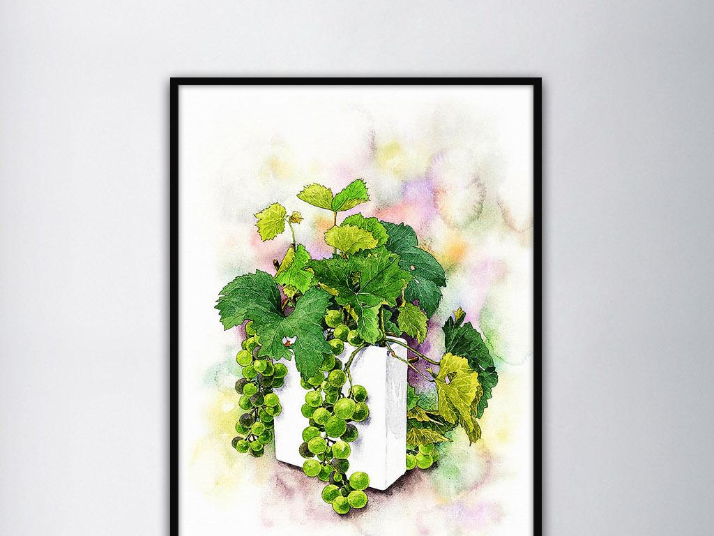 盆栽绿葡萄唯美清新现代手绘水彩家居装饰画