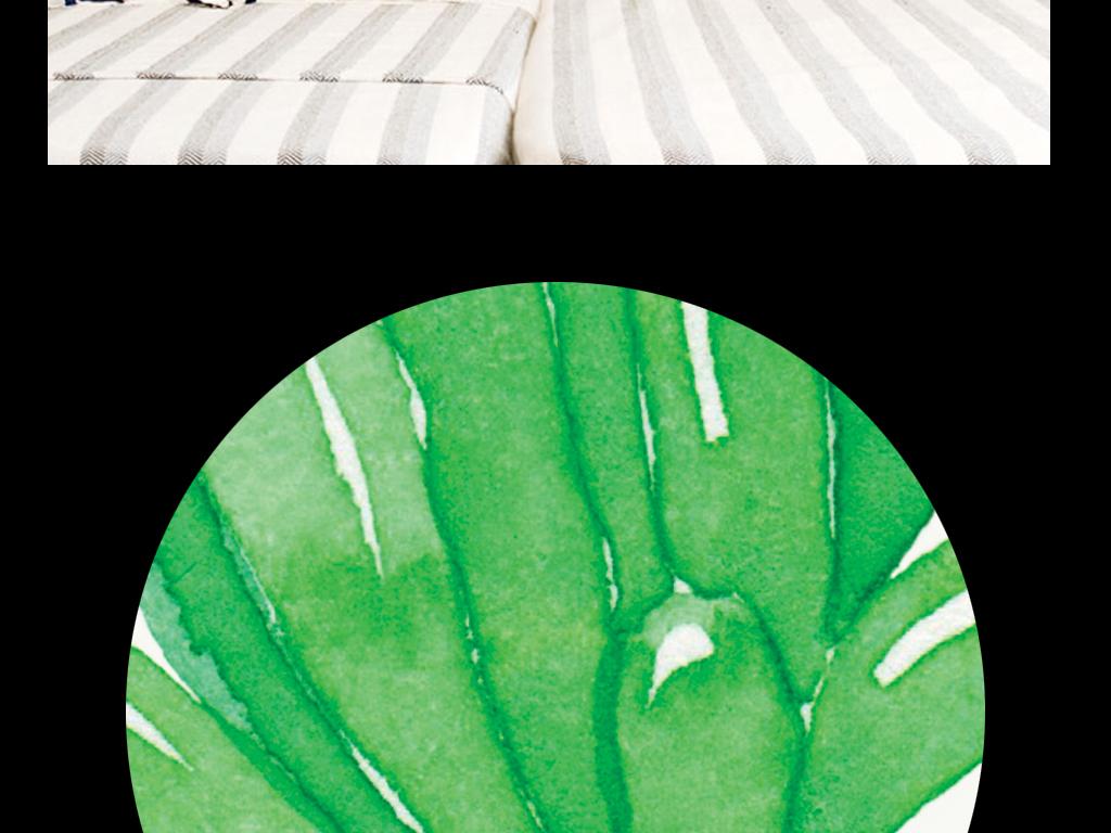 手绘复古欧式多肉植物小盆栽仙人掌抽象横幅绿色进口