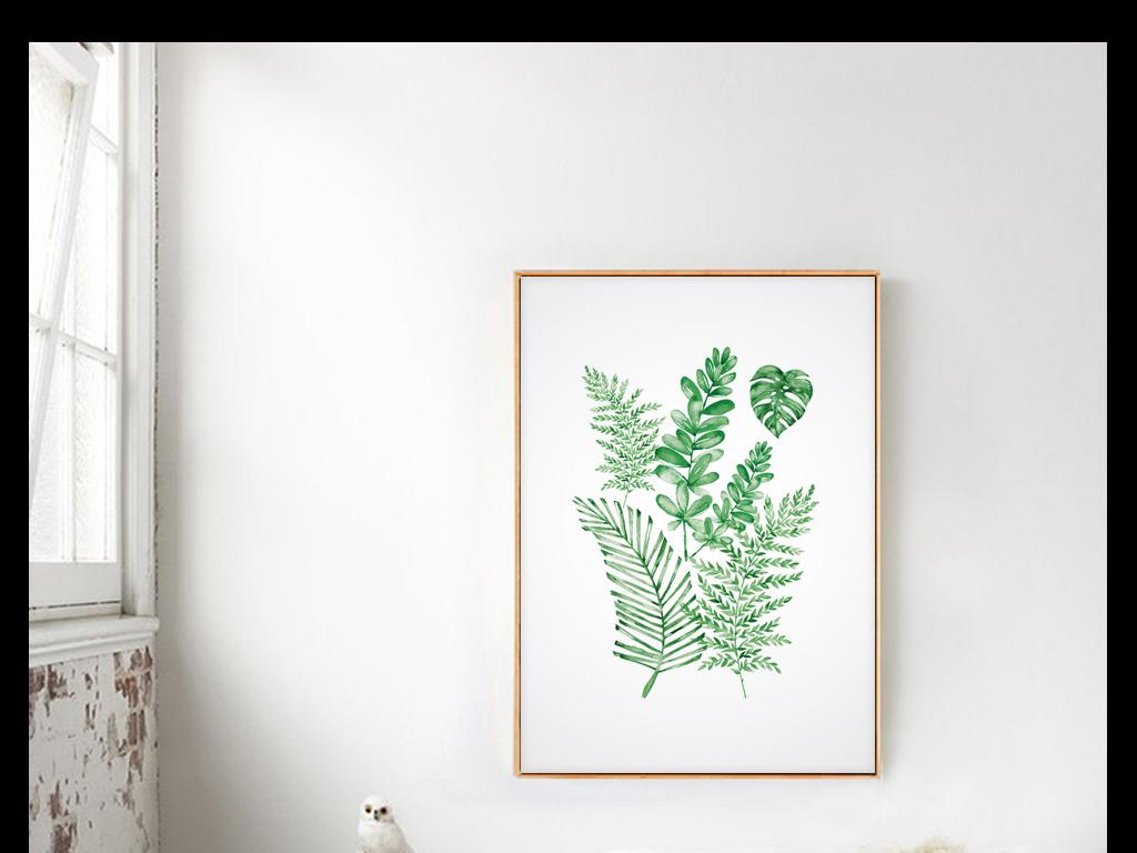 装饰装修水彩手绘复古欧式植物抽象绿色叶子组合芭蕉蕨类龟背竹进口画