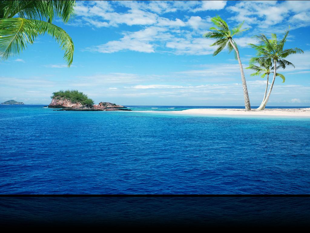 蓝色海洋椰树小岛蓝天白云大海海景背景墙图片