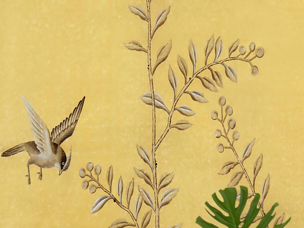 欧式怀旧壁画新中式手绘工笔花鸟玄关背景墙