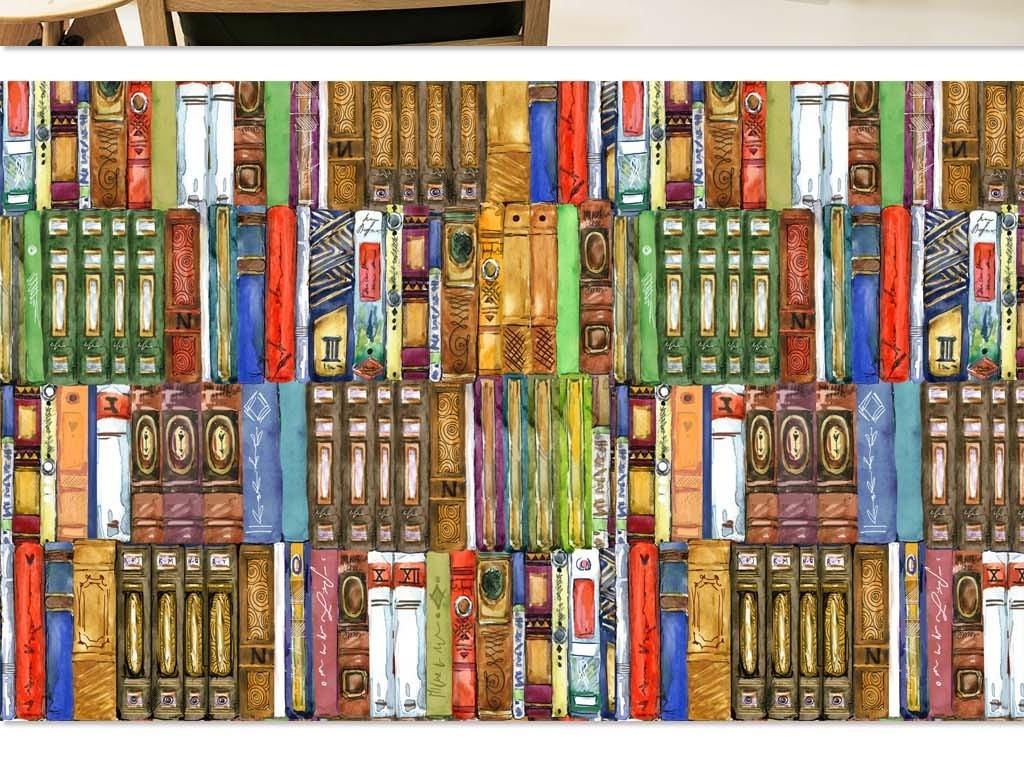 书籍                                  书堆书架书柜手绘