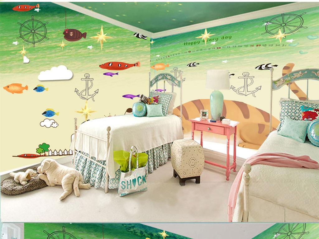 手绘卡通儿童房背景墙装饰画