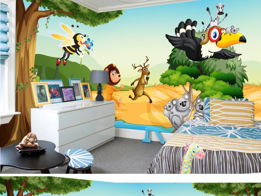 手绘树林主题卡通动物世界儿童房背景墙壁纸