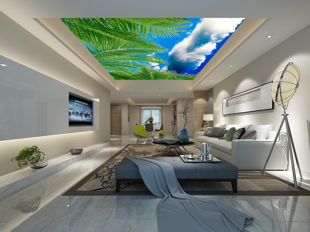蓝天白云椰树吊顶天花壁画墙纸图片