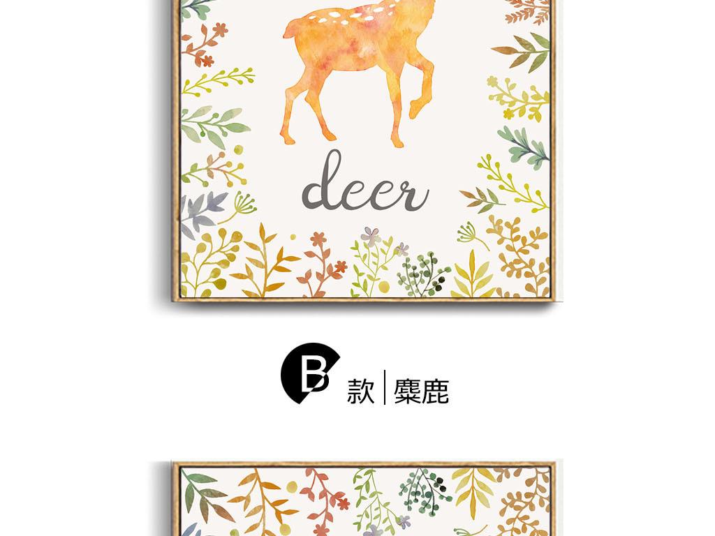 背景墙|装饰画 无框画 动物图案无框画 > 北欧花环动物麋鹿客厅三联挂