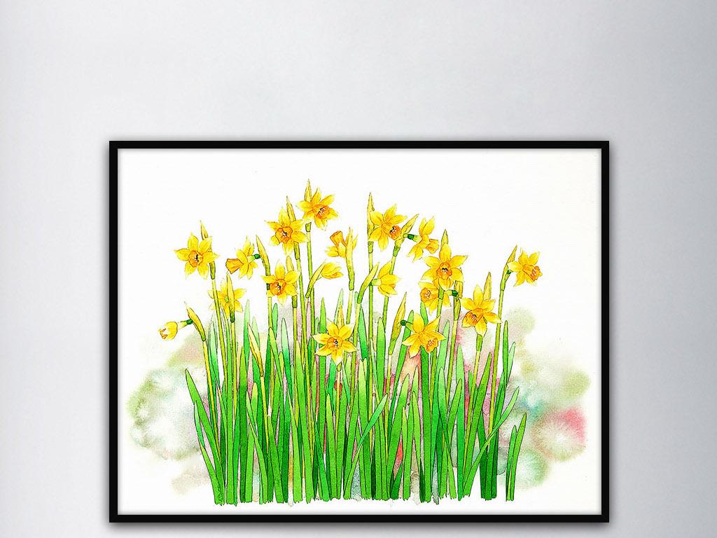 黄色水仙花手绘水彩花卉清新家居室内装饰画