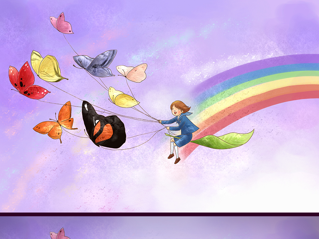 蝴蝶少女手绘卡通背景墙(图片编号:15601106)_儿童房