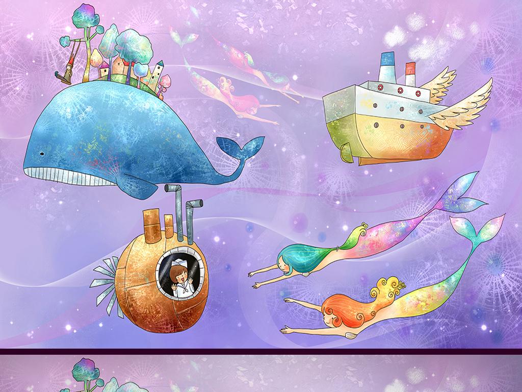 海底世界手绘卡通背景墙